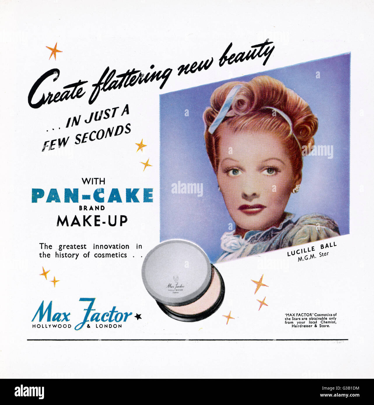Max Factor Pan-Cake makeup - as used by Lucille Ball       Date: 1946 - Stock Image