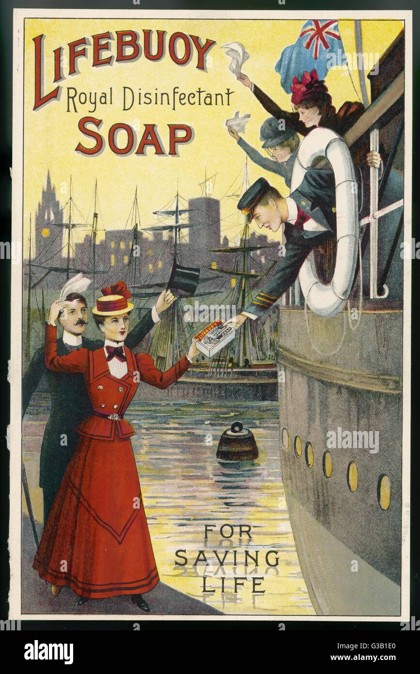 As travelers leave England,  their relatives thrust a  packet of Lifebuoy Soap into  their hands, knowing it may - Stock Image