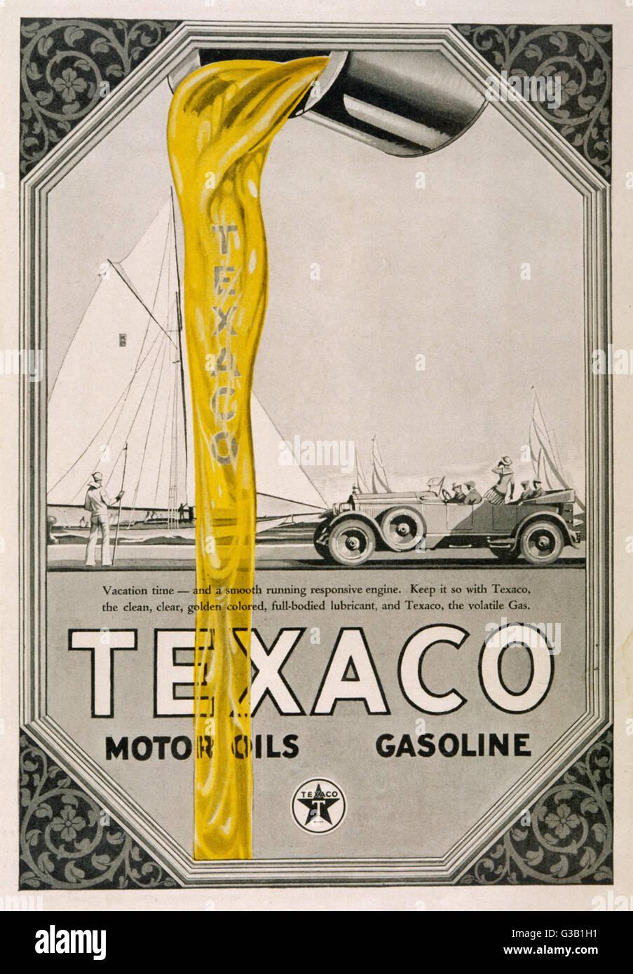 Texaco motor oils and gasoline        Date: 1904 Stock Photo