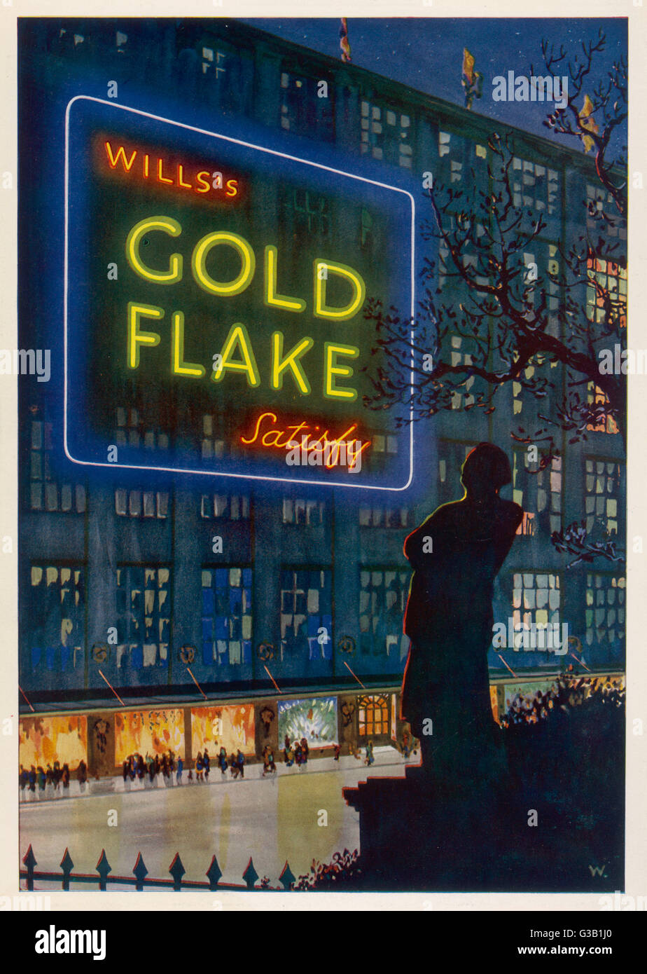Wills's Gold Flake  cigarettes satisfy        Date: 1930 - Stock Image