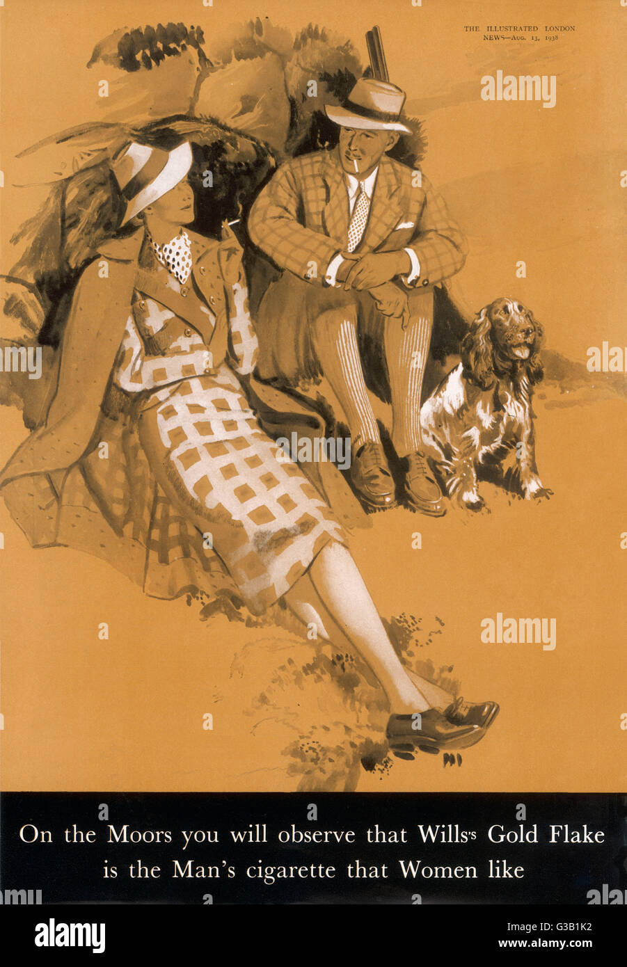 Wills's Gold Flake on the  Moors -  the Man's cigarette that Women like      Date: 1938 - Stock Image