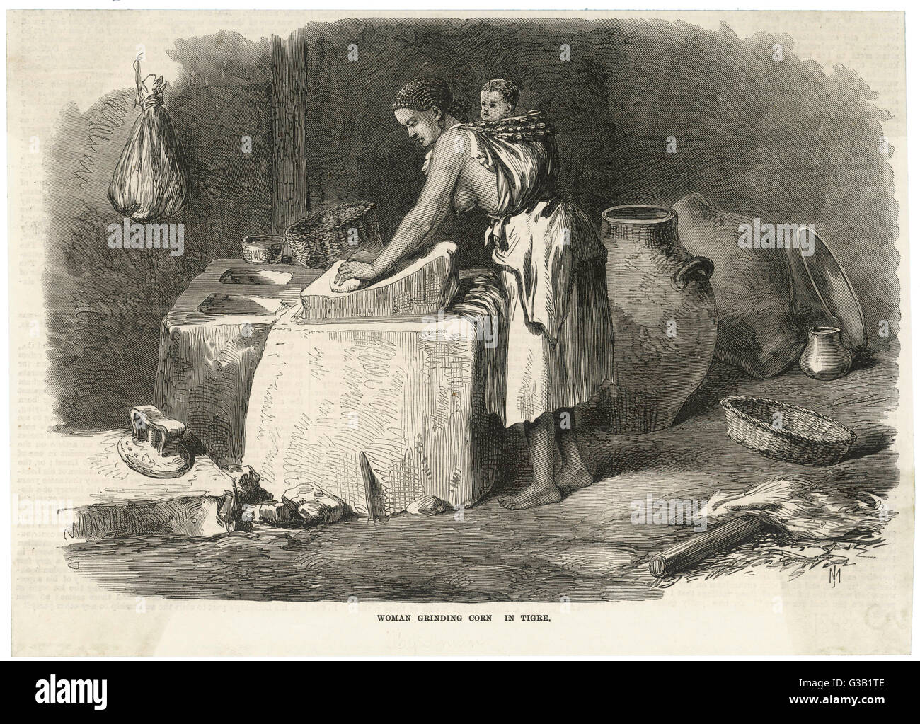 An Ethiopian woman uses a  saddle quern to grind corn.         Date: 1868 - Stock Image