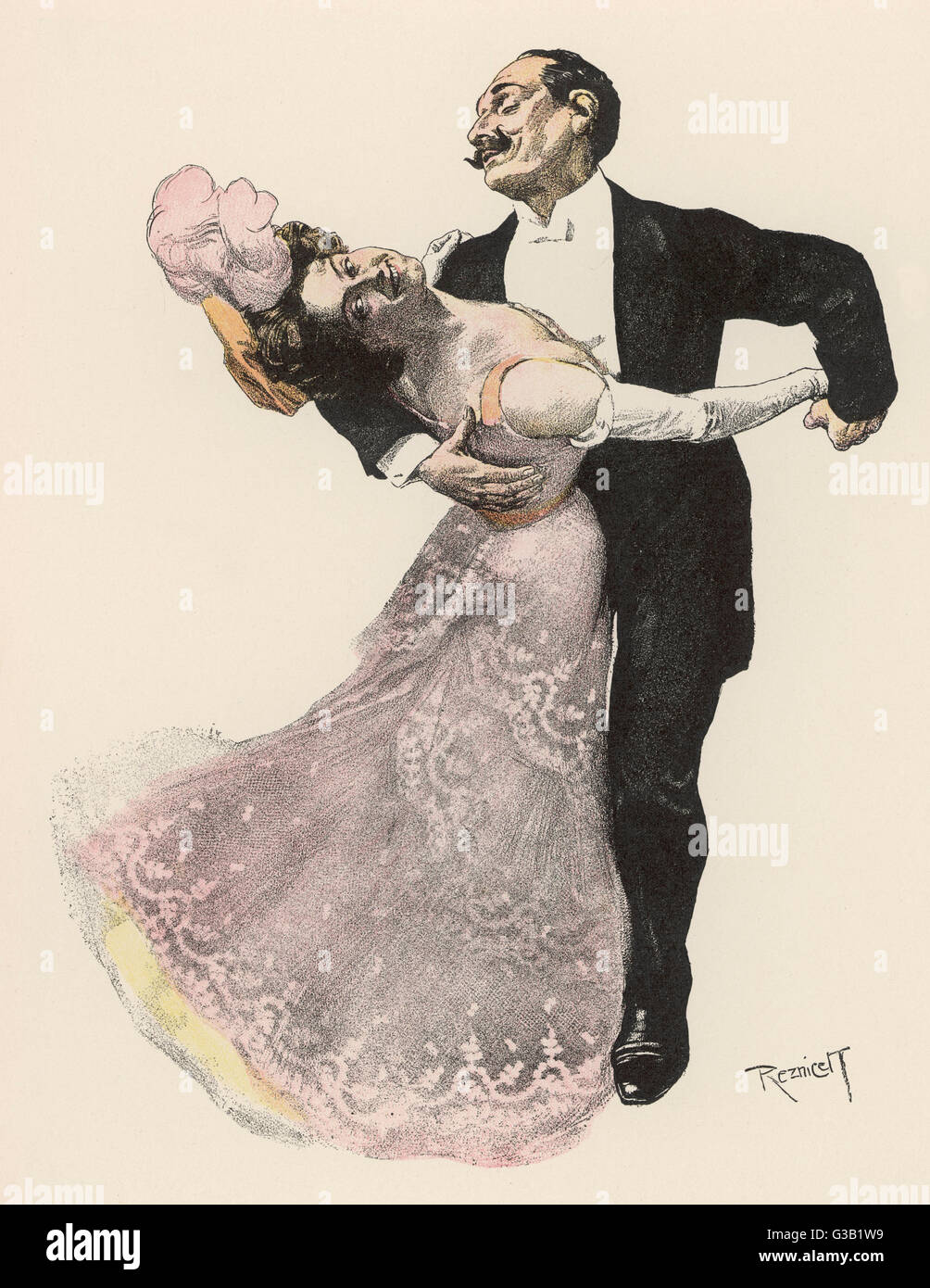 'SELIGKEIT !' (Bliss !) A couple lose themselves in  the rapture of the dance       Date: 1908 - Stock Image