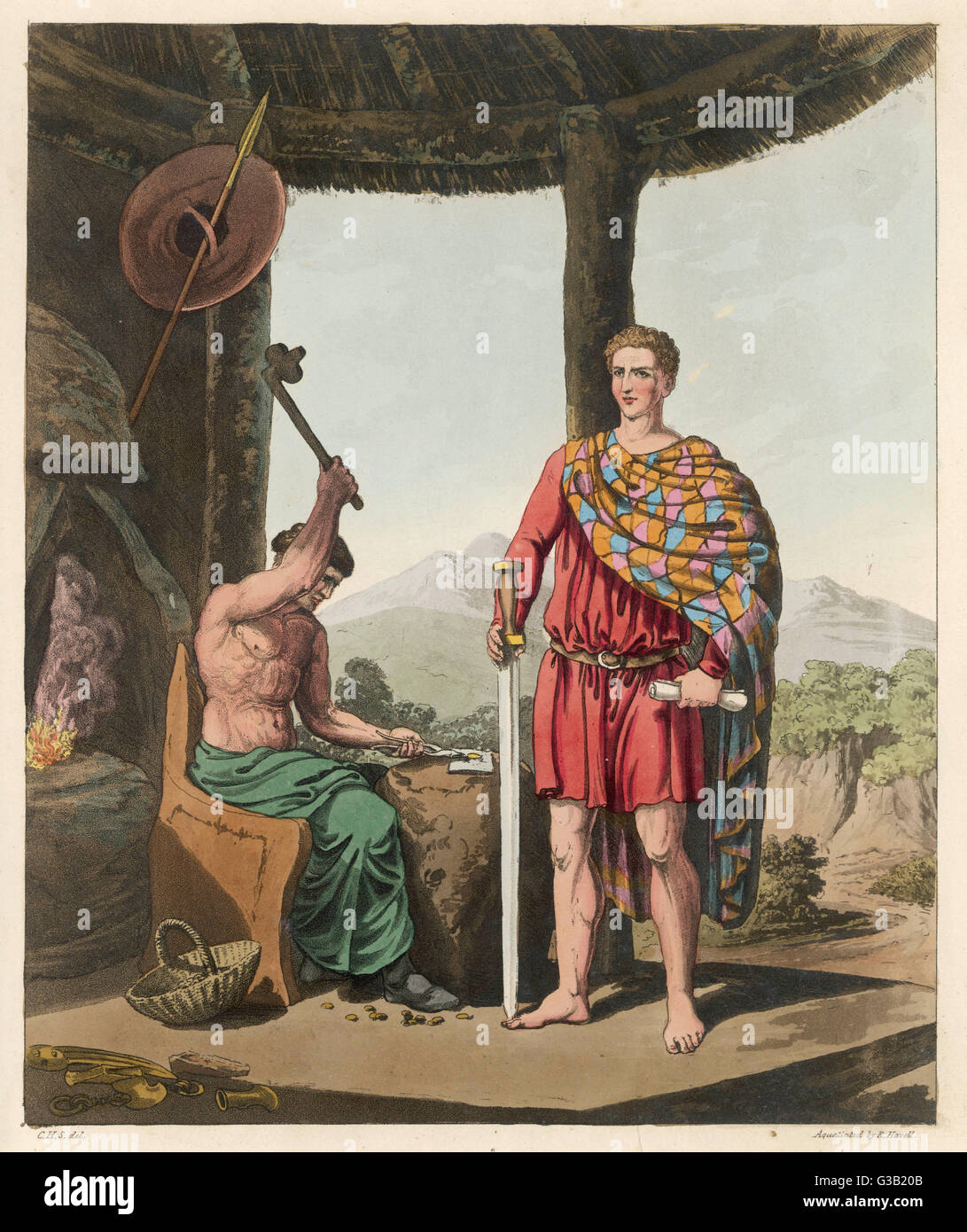 A Romanised Briton with his  sword, and a weapon-maker        Date: 3rd century - Stock Image