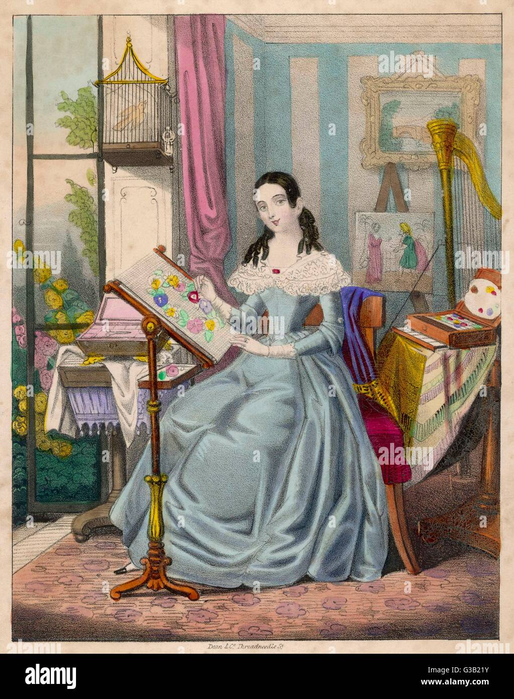 'The Industrious Young Lady' -  a Victorian girl and her  accomplishments        Date: 1840s - Stock Image