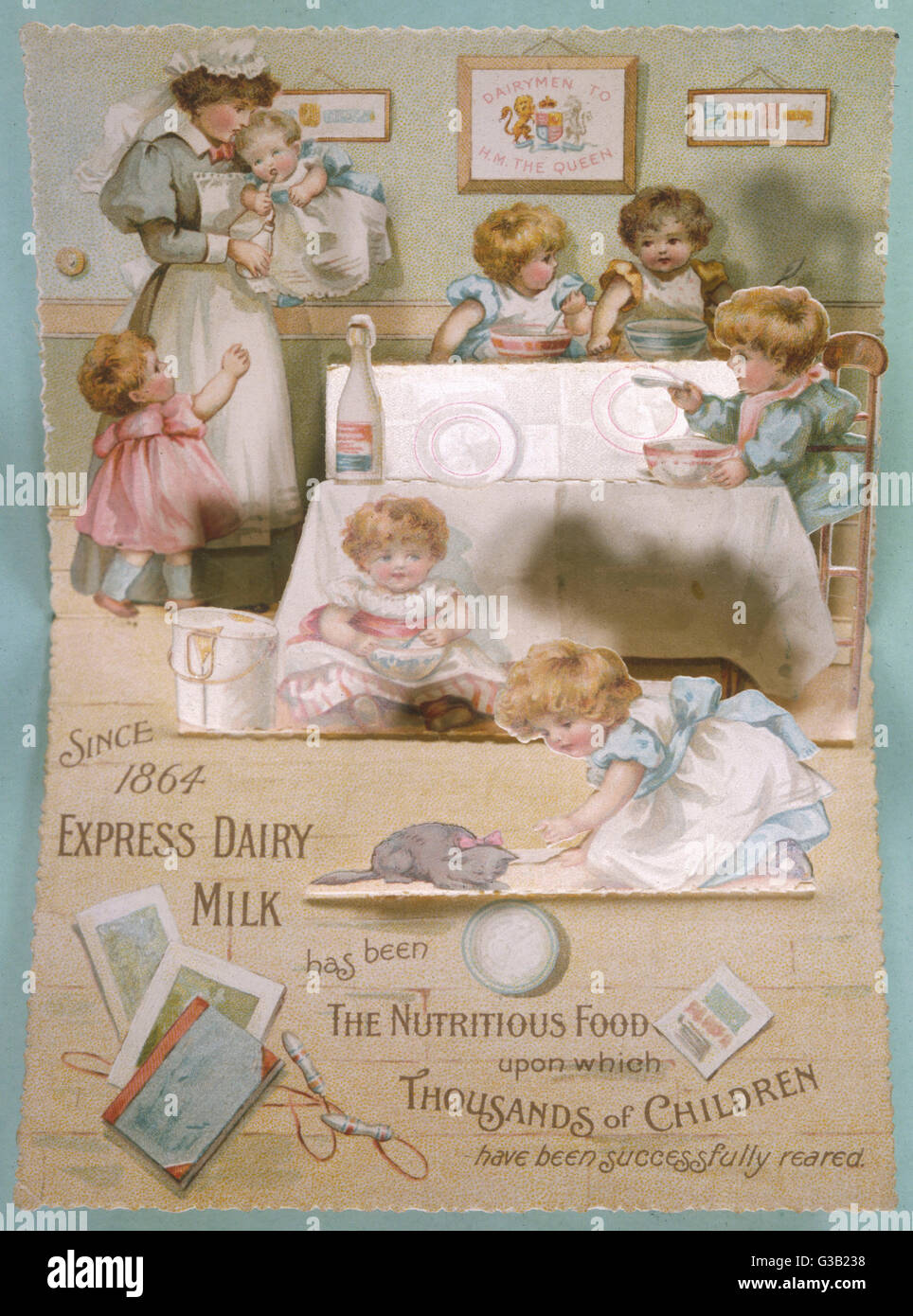 Express Dairy Milk - nutritious food for thousands of children       Date: circa 1890s - Stock Image