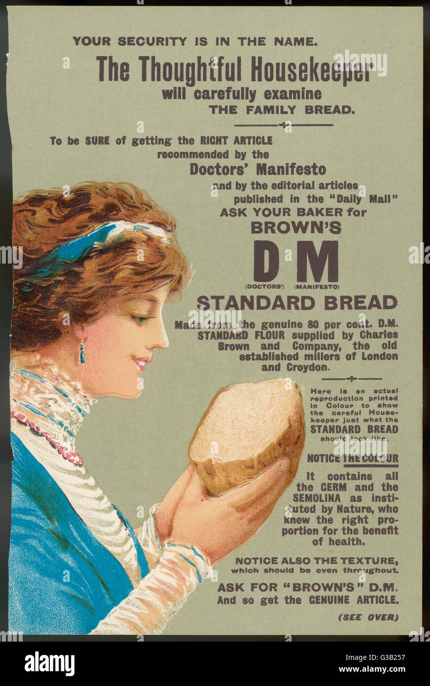 Brown's DM Bread         Date: 1890s? - Stock Image