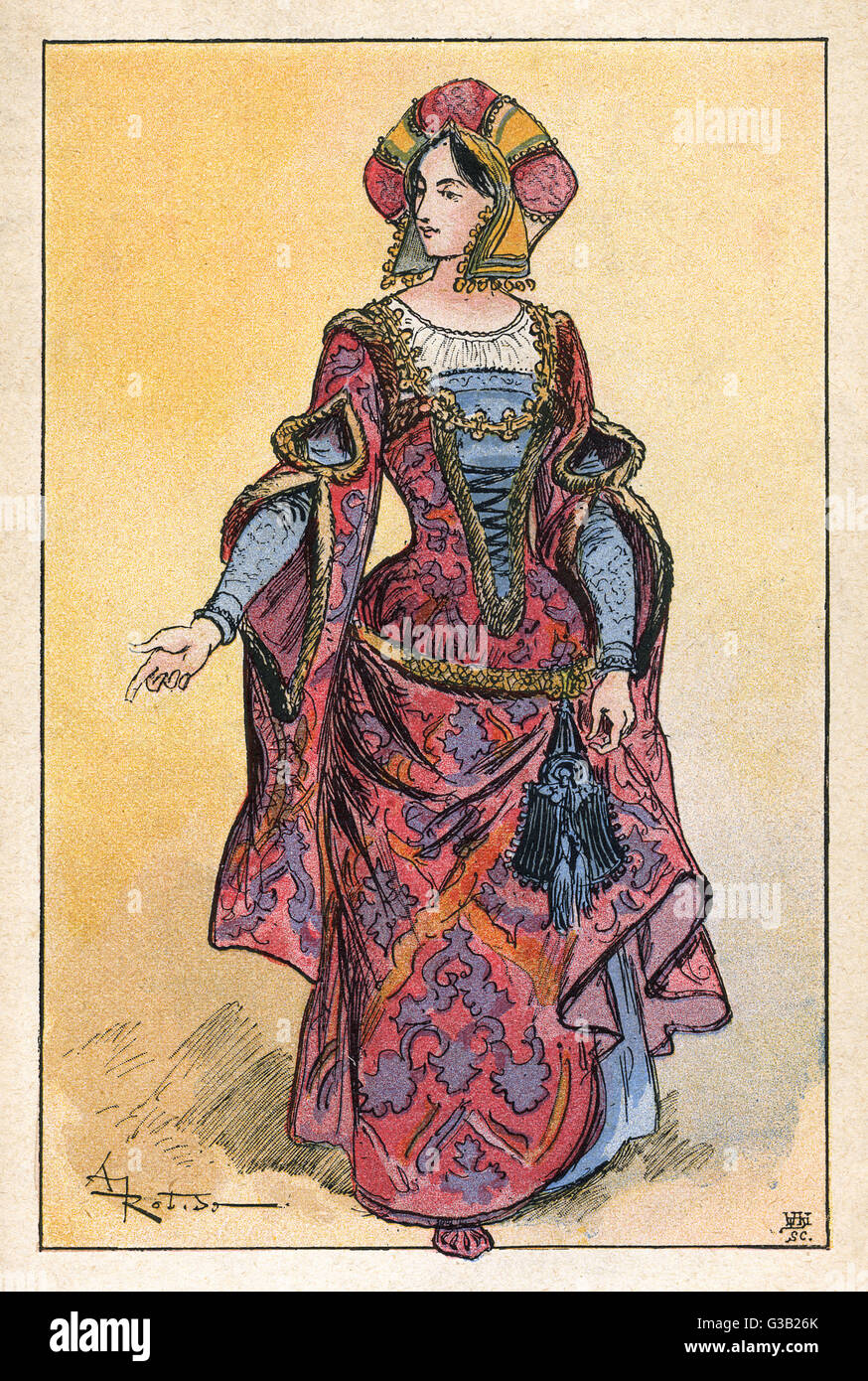 A well-dressed lady of the  late fifteenth century         Date: circa 1480 - Stock Image
