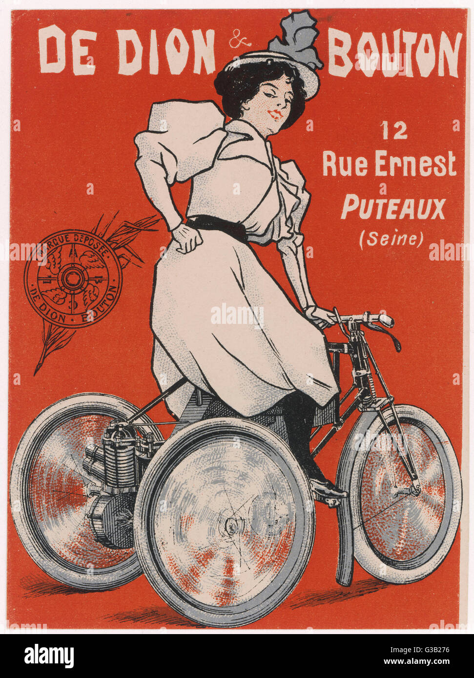 De Dion Bouton powered  tricycle, available with  steel or wooden rims and  with thicker tyres as an  option    - Stock Image