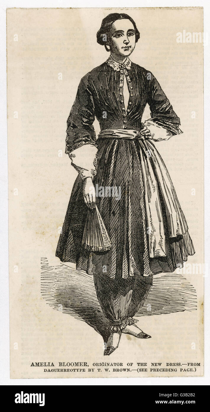 'Amelia Bloomer, Originator of  the New Dress' - the first  sight the British public  received of the scandalous - Stock Image