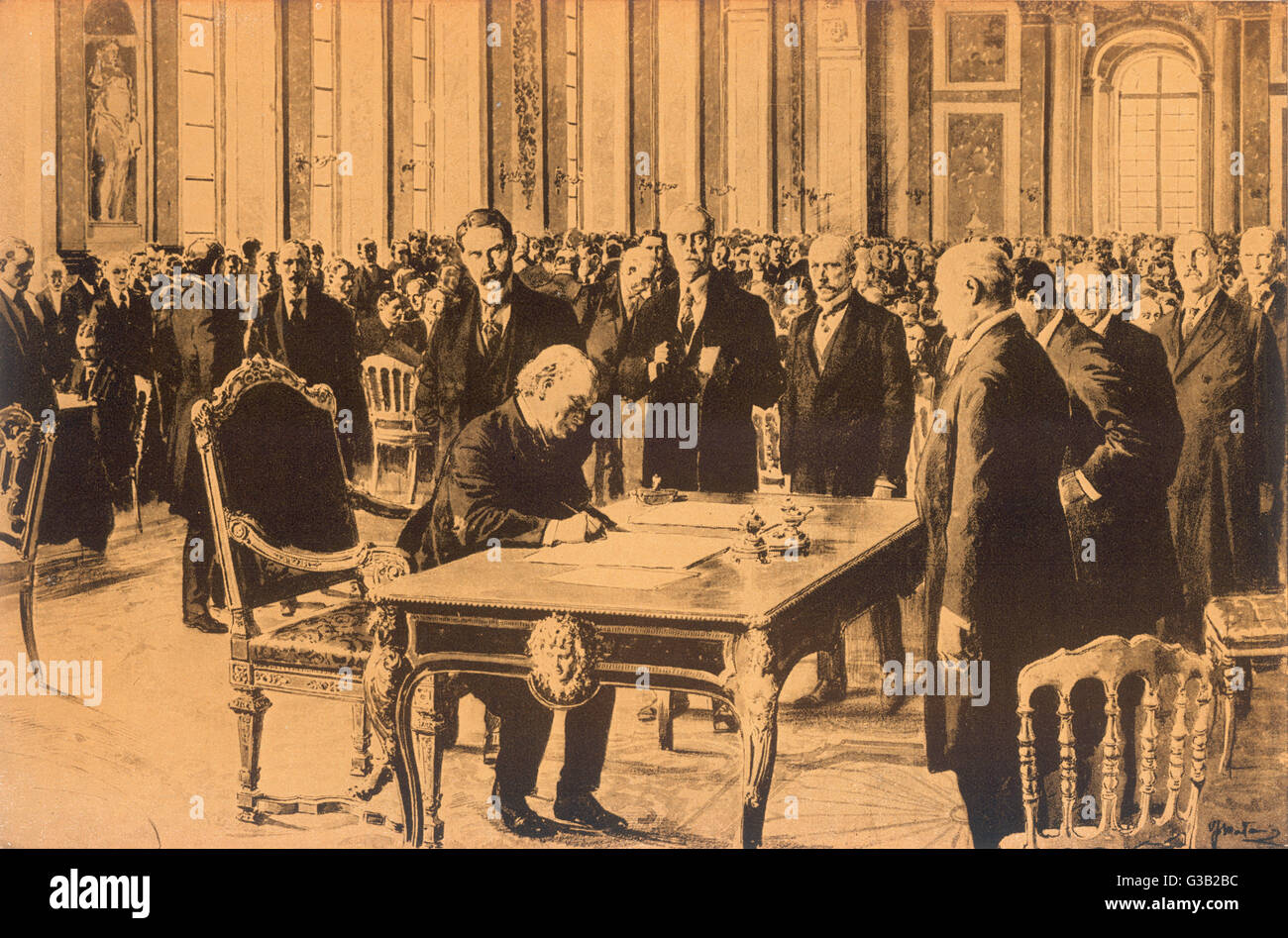 The treaty is signed         Date: 28 June 1919 - Stock Image