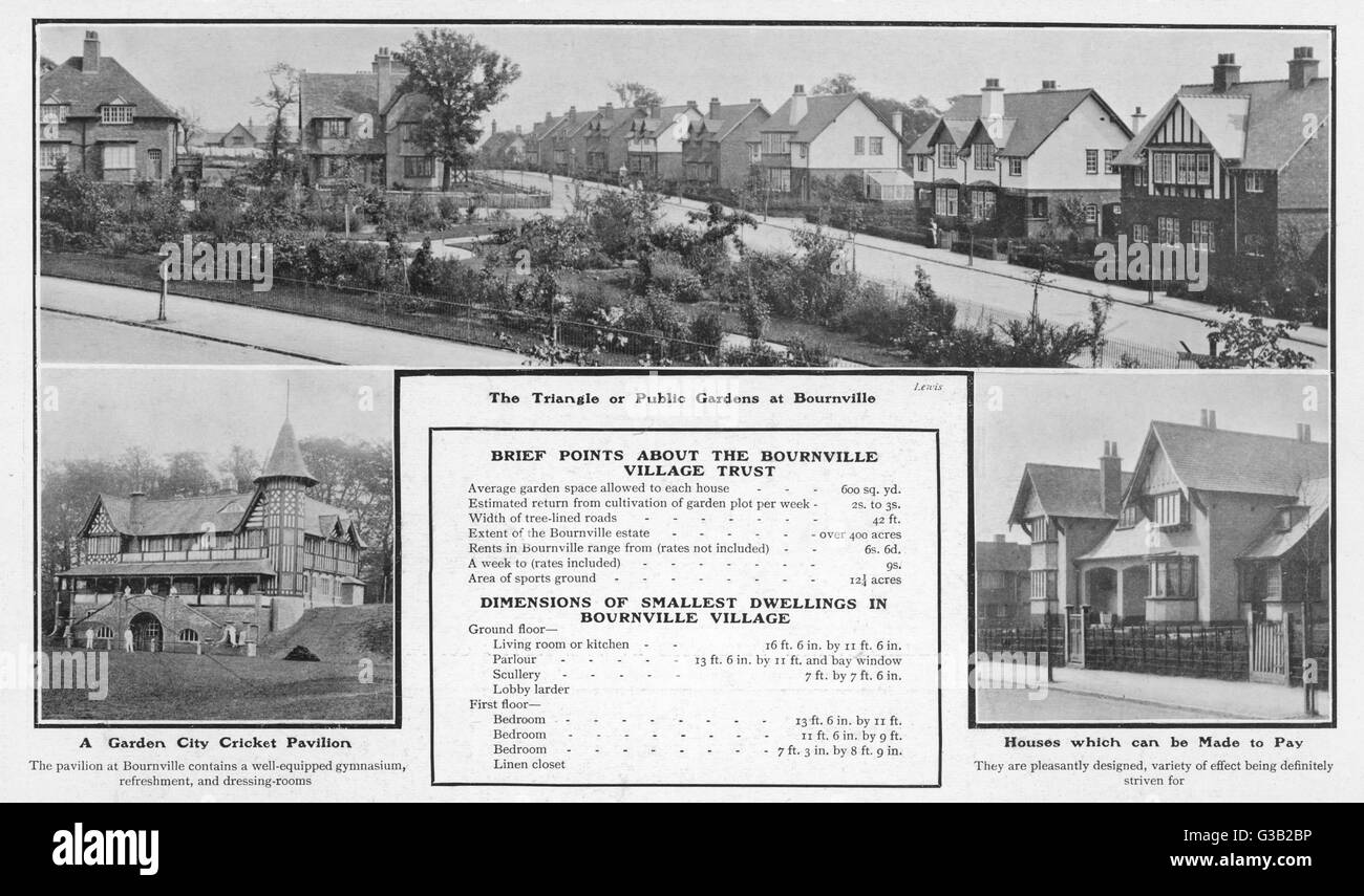 Bournville Village, Birmingham:  homes for Cadbury's workers       Date: 1905 - Stock Image