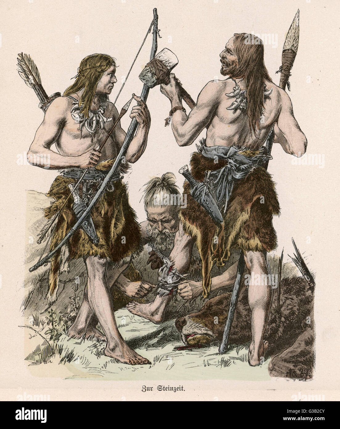 Men's costume of the Stone Age  is simple but practical, using  animal skins to good effect :  their teeth are - Stock Image