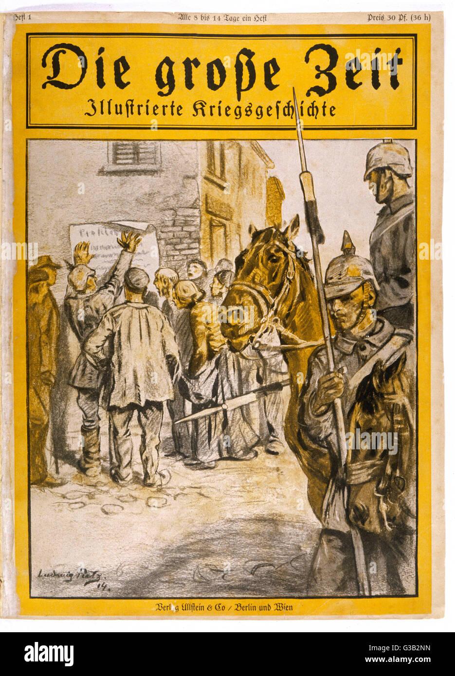 German troops post notices in  occupied Belgium.         Date: 1914 - Stock Image