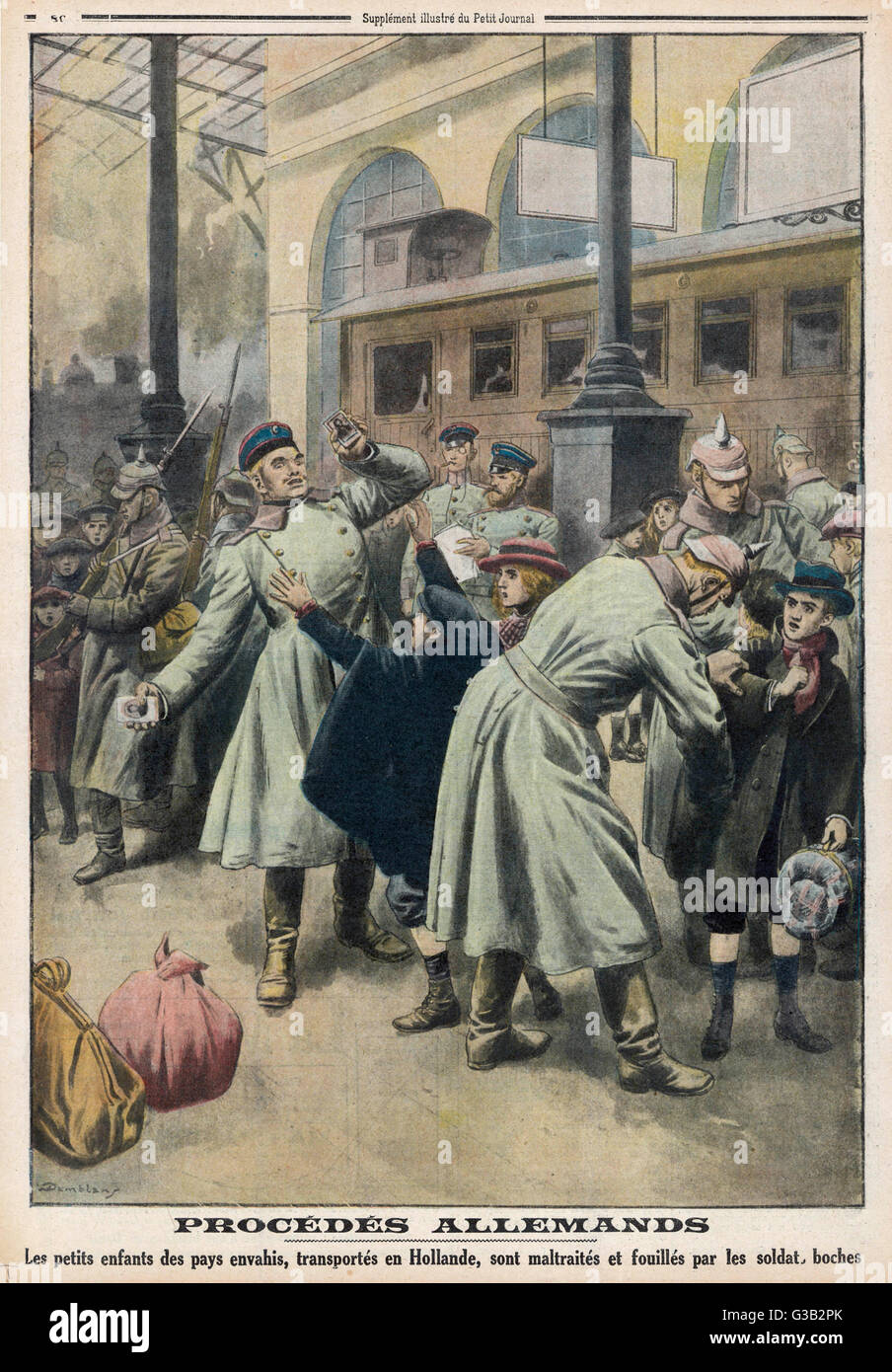 Children evacuated to Holland  are roughly treated by German  soldiers       Date: January 1917 Stock Photo