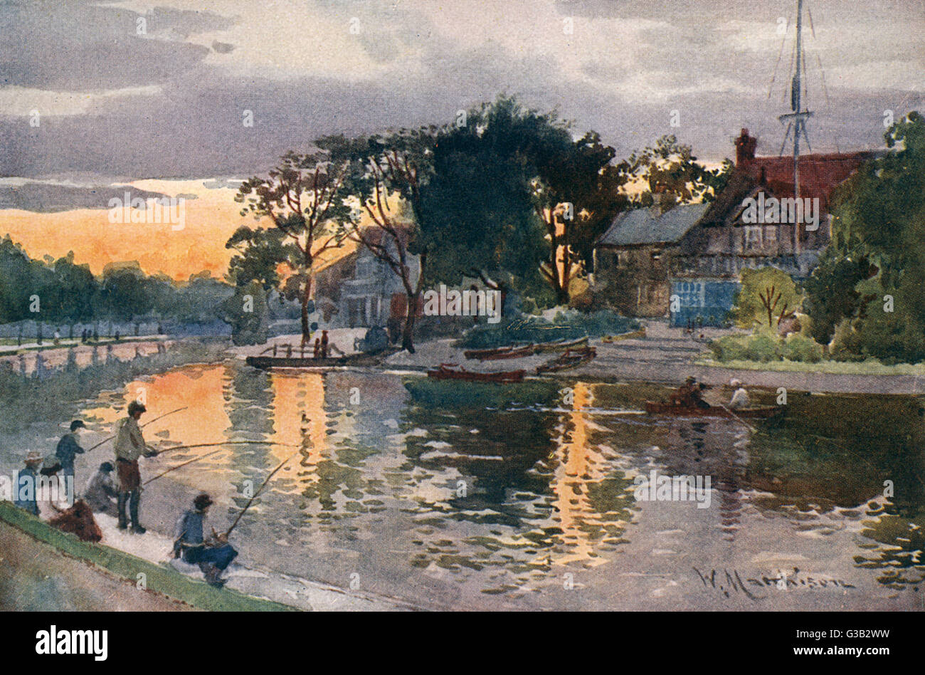 Cambridge: University Boat- Houses on the Cam at sunset        Date: 1907 - Stock Image