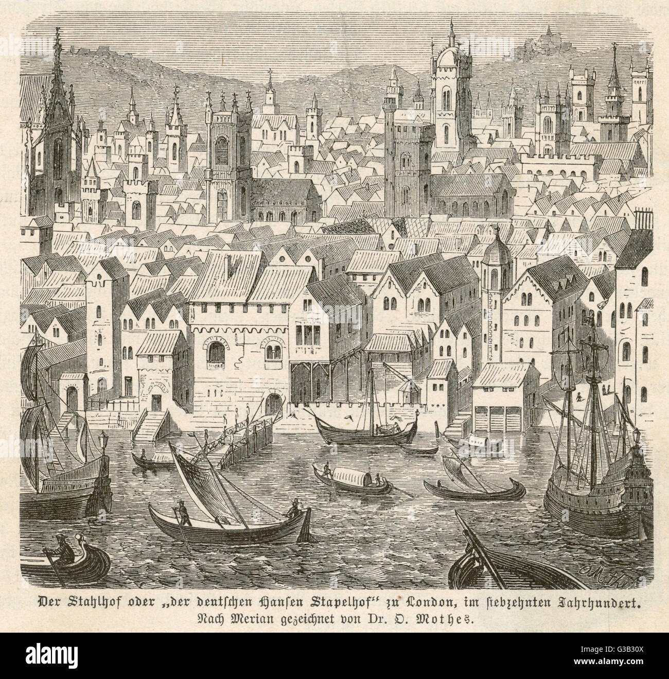 The Hanseatic League's depot  in London         Date: 16th century - Stock Image