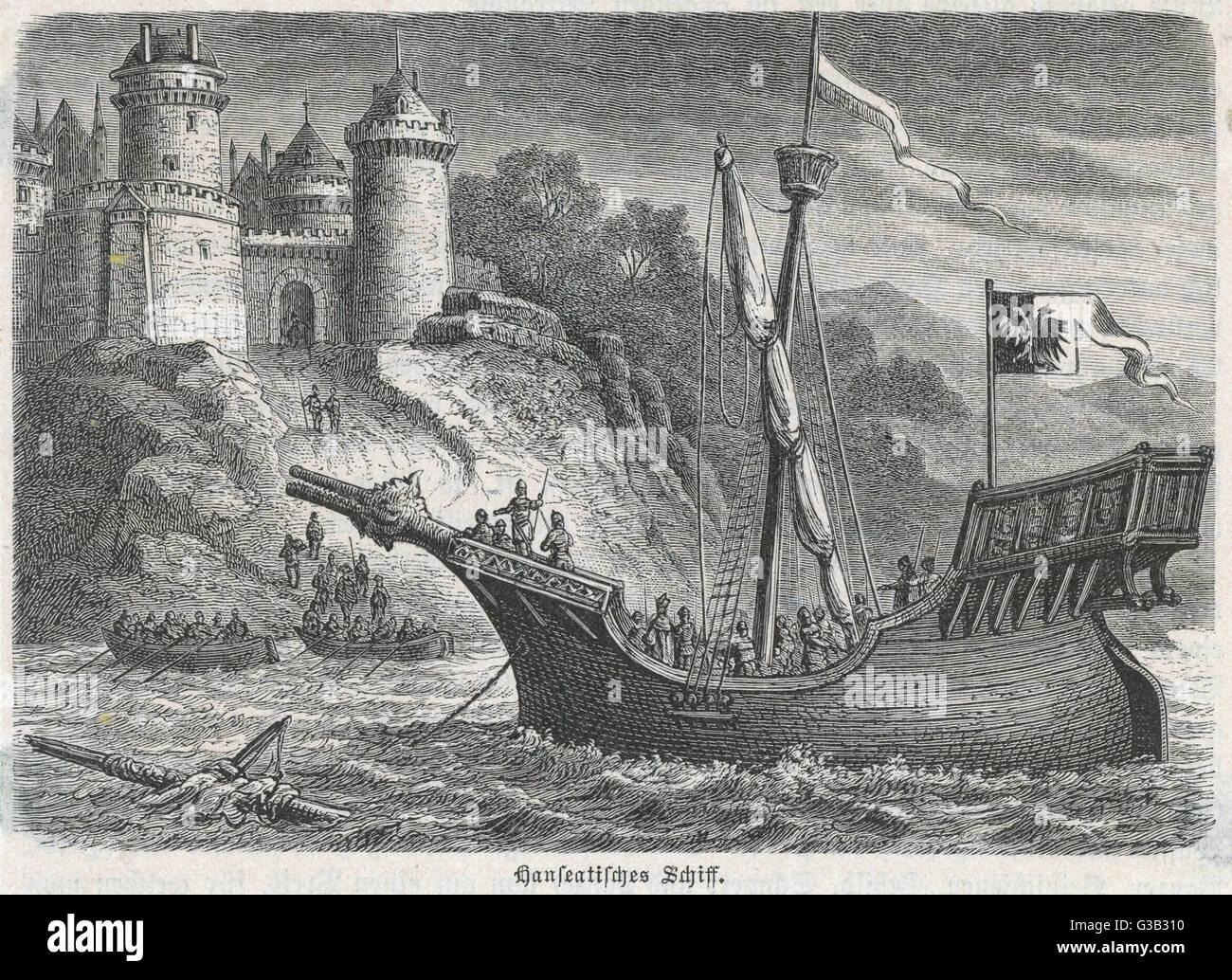 A Hanseatic League vessel          Date: circa 1400 - Stock Image