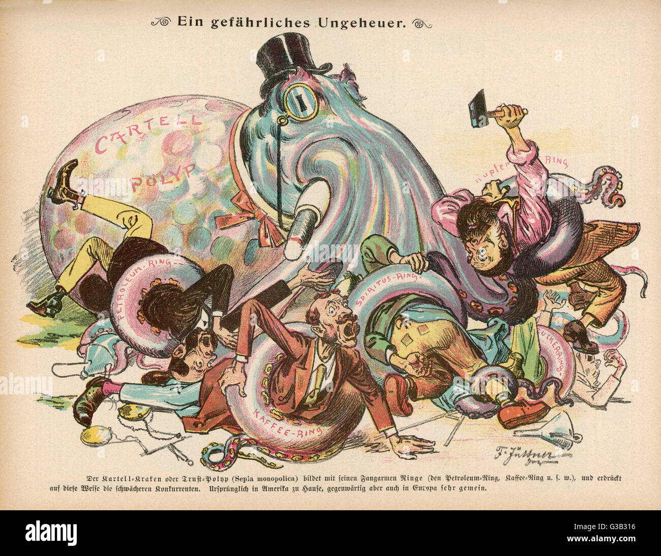 Monopolies, represented here  by a giant squid, strangle the  life out of commerce     1895 - Stock Image
