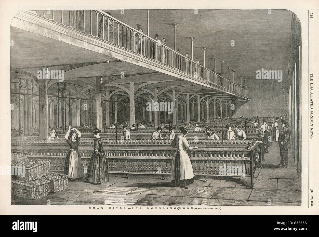 The doubling room at Dean  Mills, Lancashire, a cotton  mill.        Date: 1851 - Stock Image