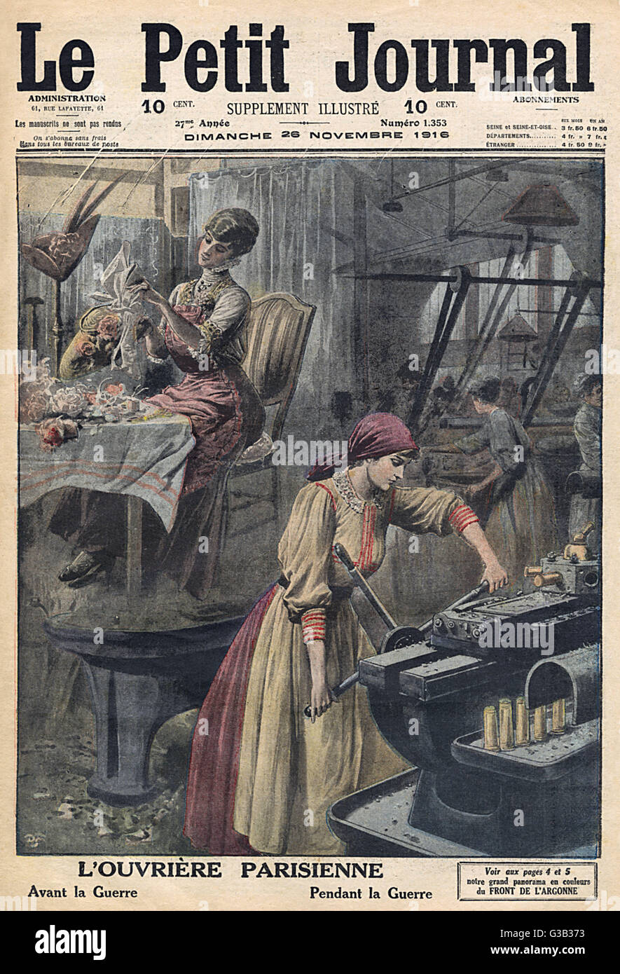 The contrast between women's  work before and during the  war.        Date: 1916 - Stock Image