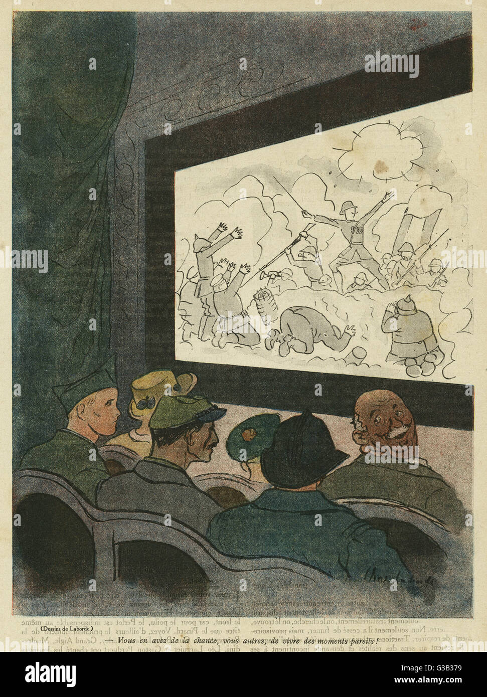 Cartoon, Old man at the cinema, watching a heroic war film.  He turns round to the soldiers seated behind him, saying Stock Photo