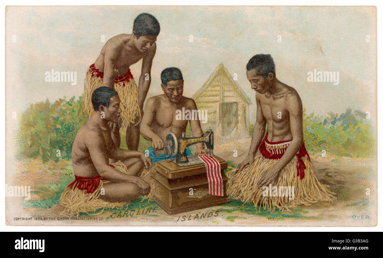 Natives of the Caroline  Islands quickly get to grips  with their Singer sewing  machine       Date: circa 1900 - Stock Image