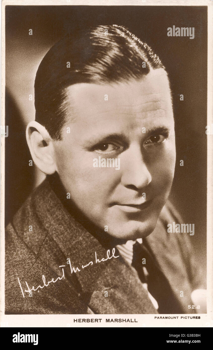 HERBERT MARSHALL  British actor of stage and screen       Date: 1890 - 1966 - Stock Image