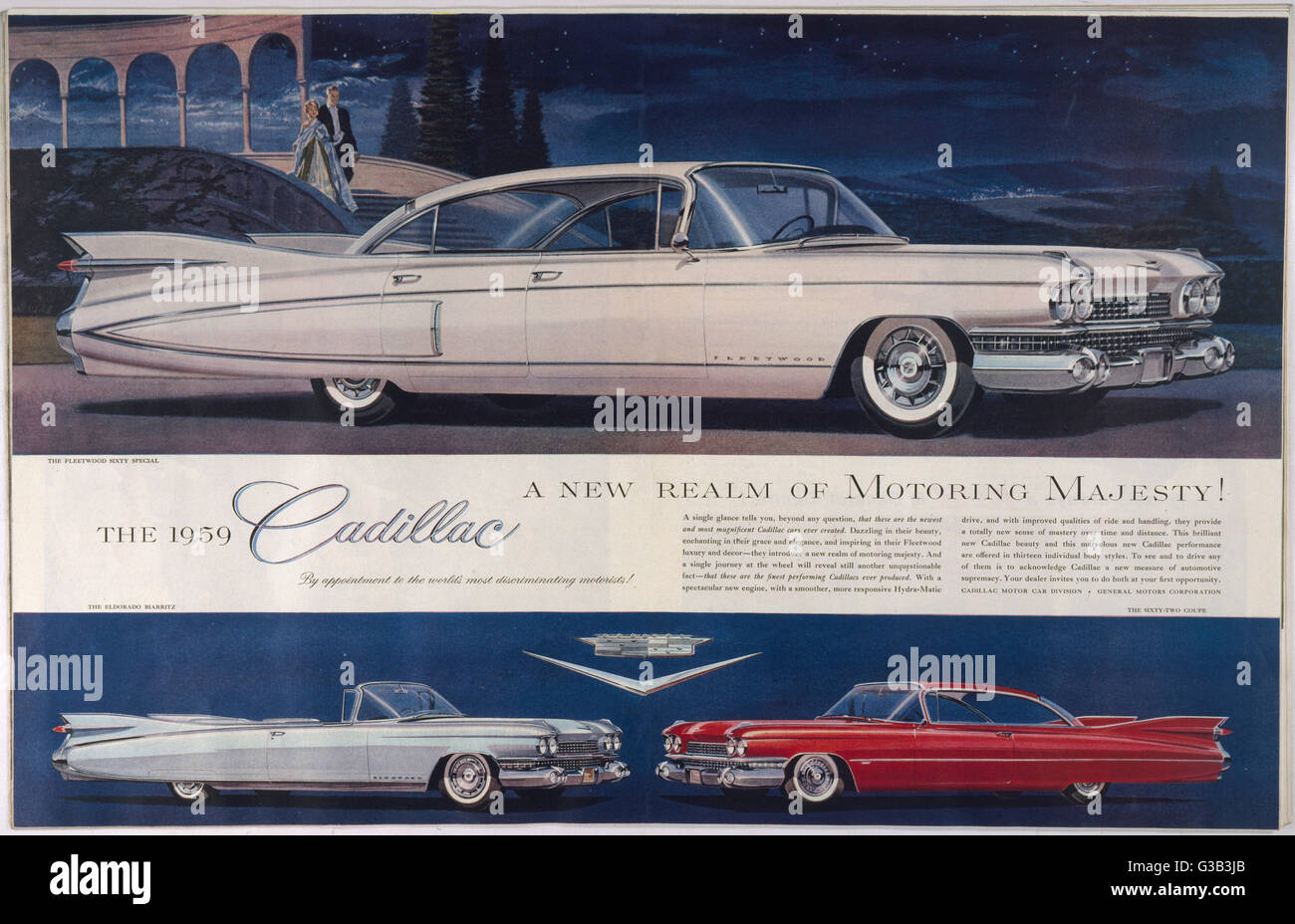 'A single glance tells you -  these are the newest and most  magnificent Cadillac cars ever  created.  Dazzling - Stock Image