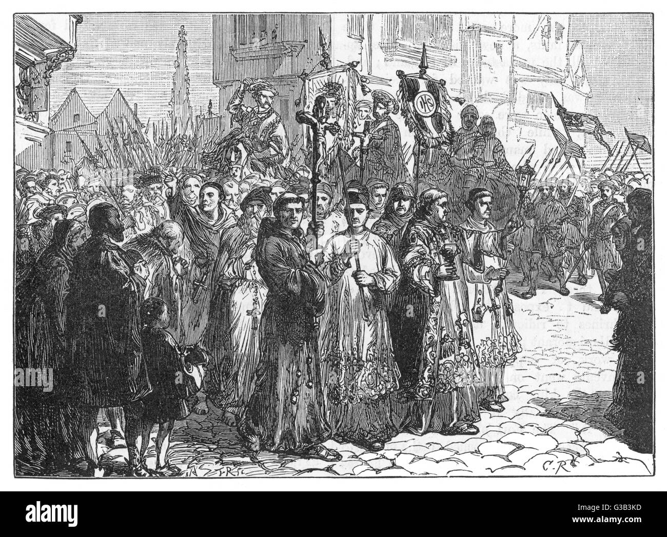 The Pilgrimage of Grace, a  rising of Roman Catholics in  N.England. It protest against  government abolition of - Stock Image