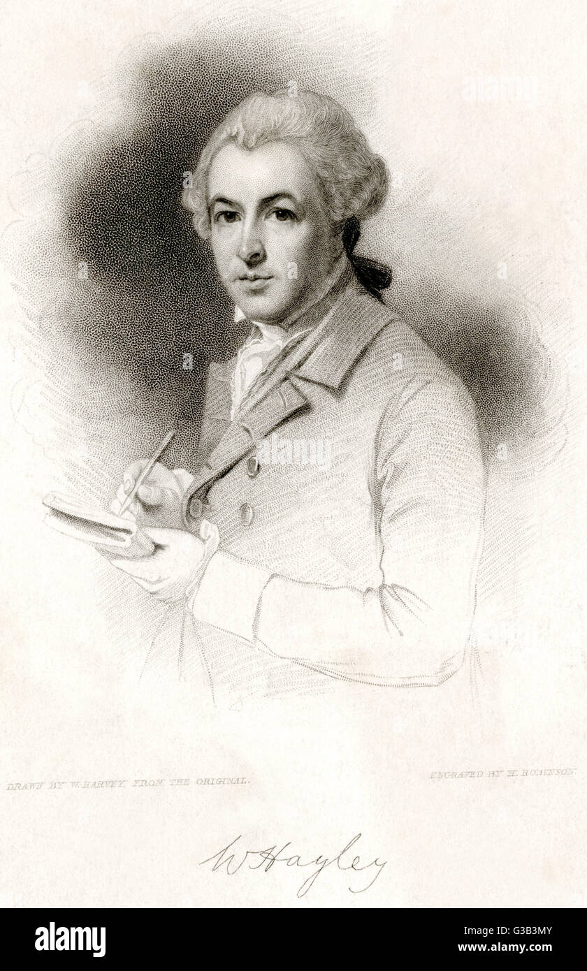 WILLIAM HAYLEY  English Poet. Wrote 'Triumph  of Music' (1804) and 'Ballads  founded on anecdotes of - Stock Image