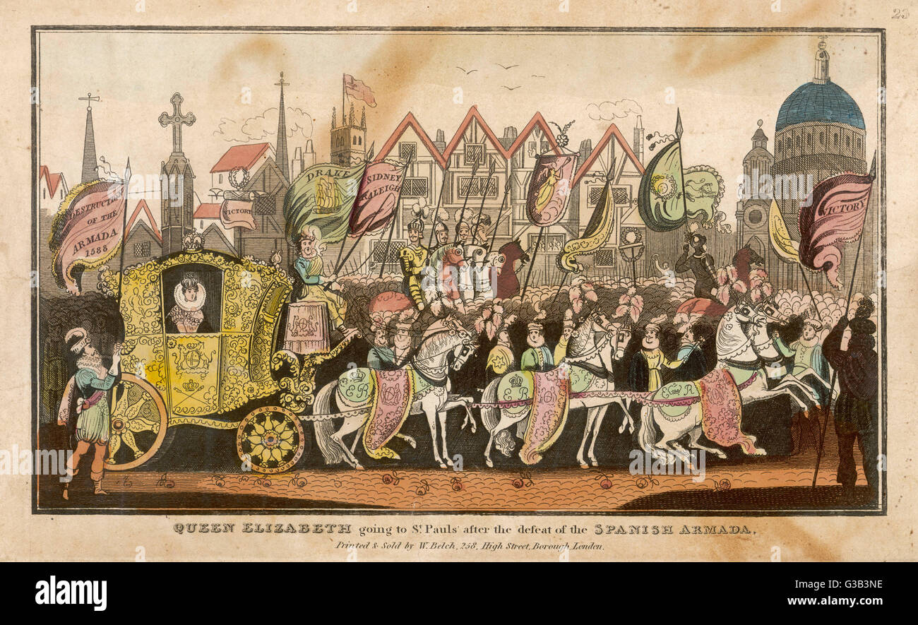 Queen Elizabeth going to St  Paul's cathedral, London, to  give thanks after the defeat  of the Spanish Armada - Stock Image