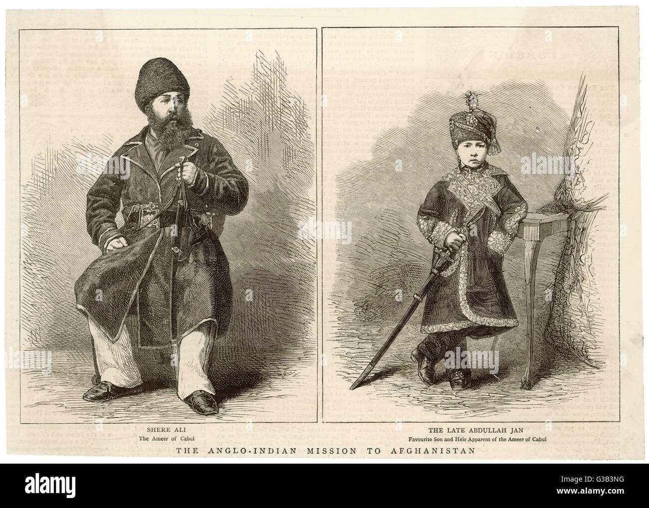 SHER (SHERE) ALI, AND HIS LATE HEIR, ABDULLAH JAN Emir of Kabul from 1863-79,  son of Dost Mohammed. Friendly  relations - Stock Image