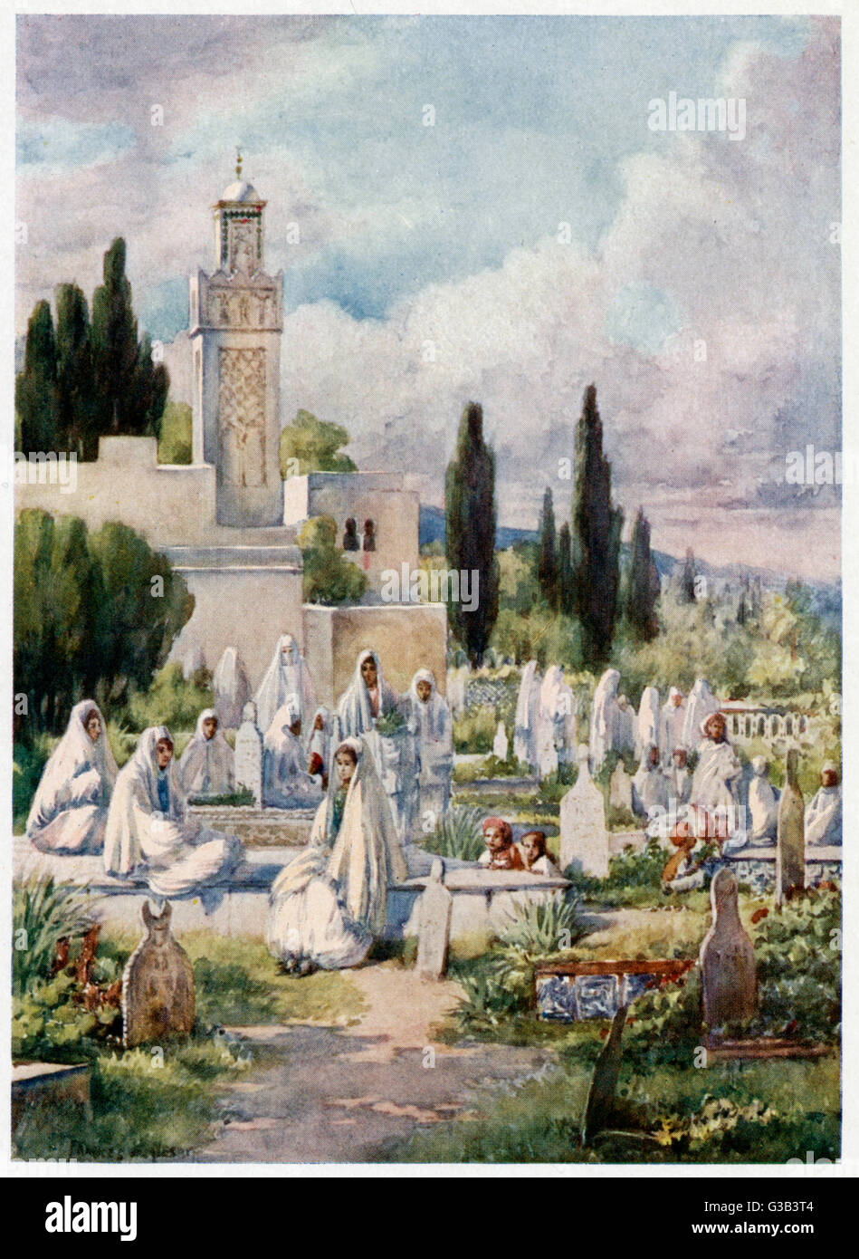 Friday is the holy day of  Islam, and on this day pious  citizens of Algiers come to  the cemetery to pay their - Stock Image