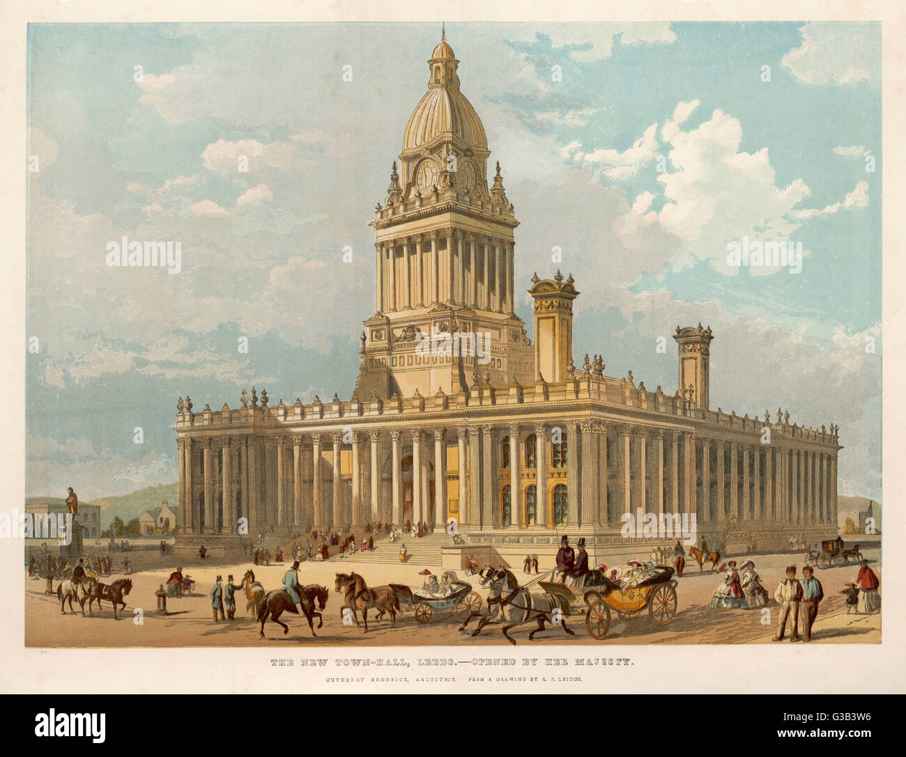 Leeds, Yorkshire:  the Town Hall (architect Cuthbert Brodrick)       Date: 1858 - Stock Image