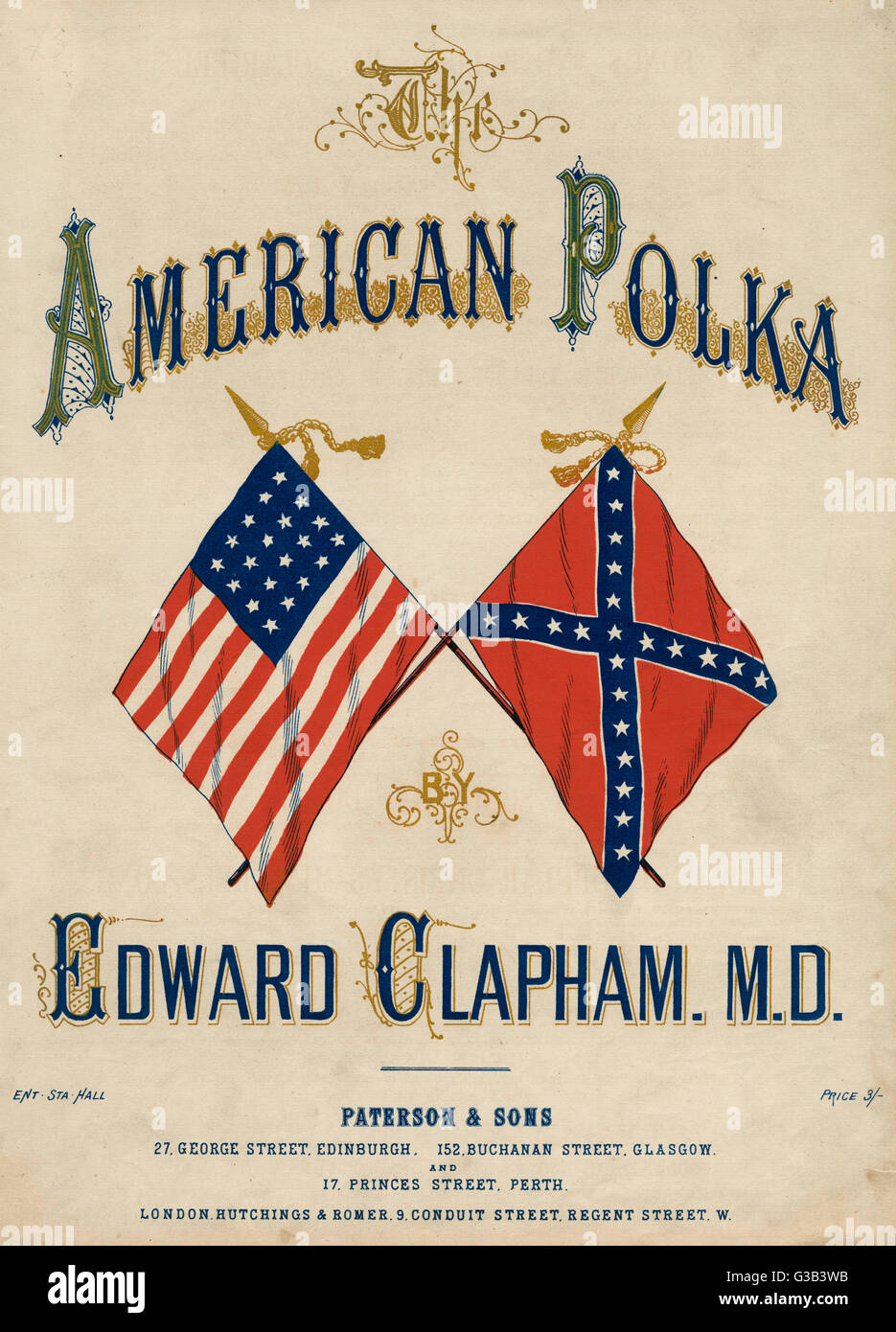 'THE AMERICAN POLKA' The rival flags are featured  on the cover of this topical  musical piece       Date: - Stock Image