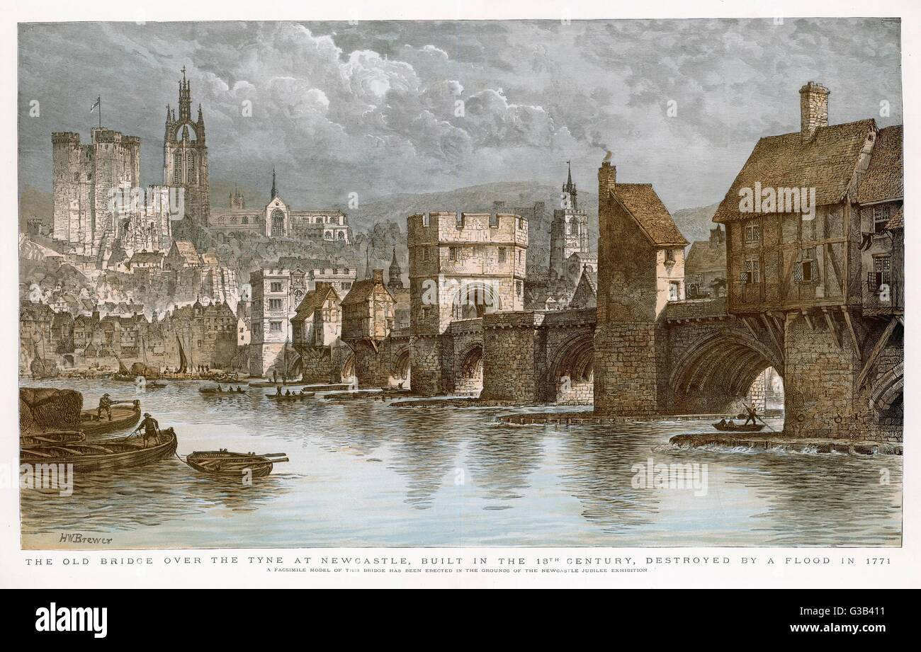 Newcastle-on-Tyne: the old bridge Date: pre-1771