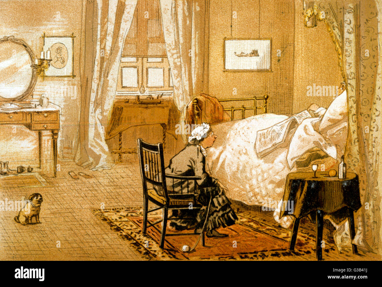 A bed-ridden gentleman is  attended by a kindly lady         Date: 1884 - Stock Image