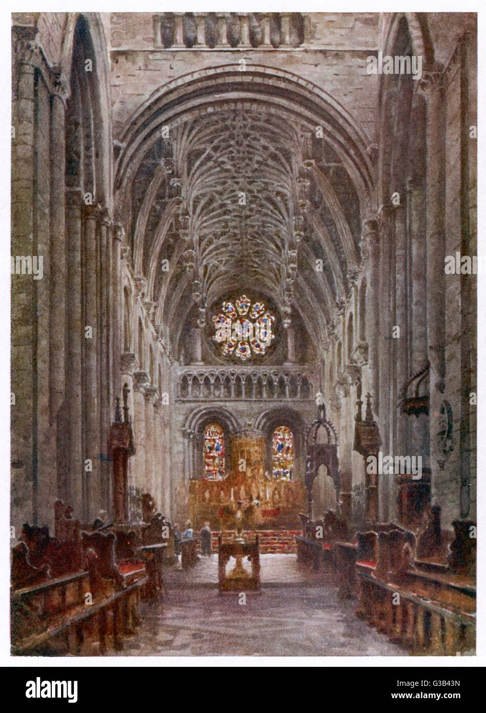 Oxford:  Christ Church College Cathedral nave       Date: 1905 - Stock Image