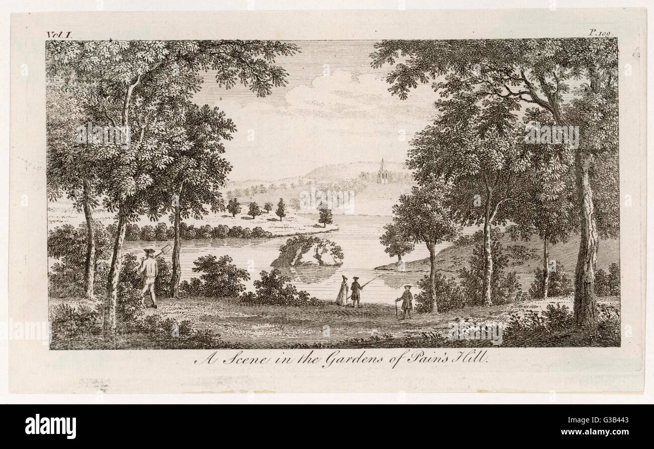 Pains Hill, Surrey: a scene in the gardens        Date: circa 1750 - Stock Image
