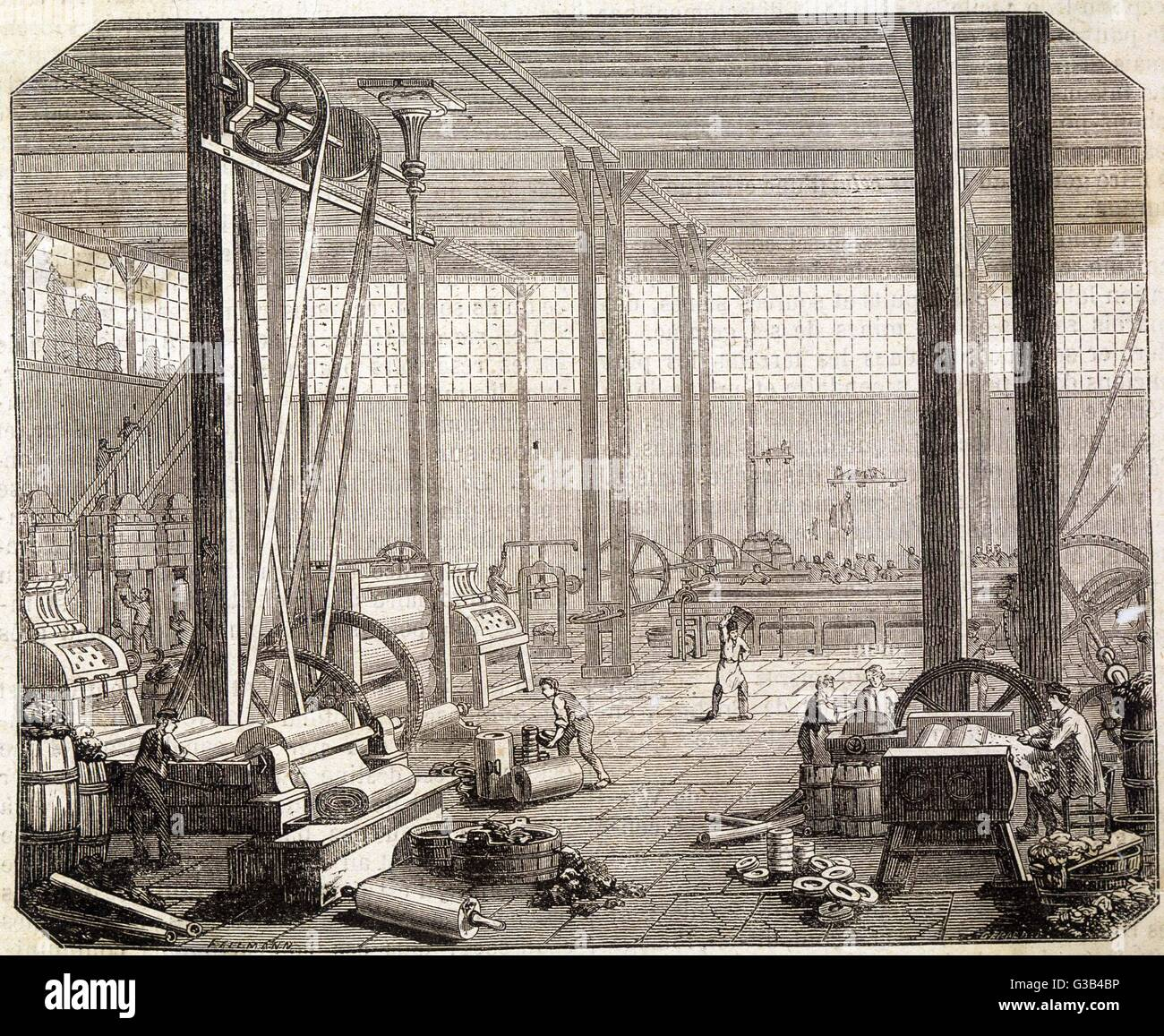 Interior of a French rubber  factory.        Date: circa 1875 - Stock Image