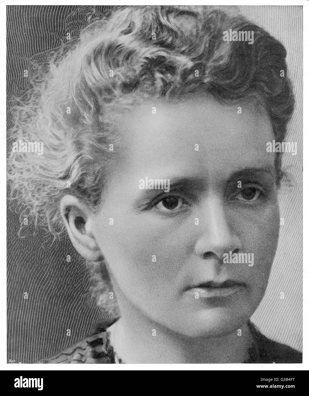 MARIE CURIE featured on page 1  of a women's magazine      1867-1934 - Stock Image