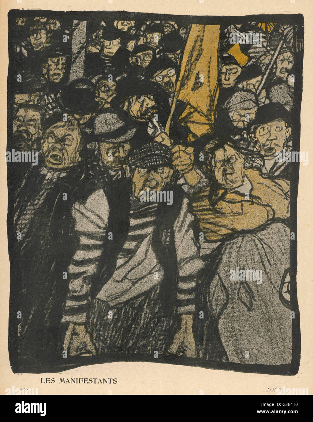 The crowd demonstrates to  indicate its disapproval        Date: 1904 - Stock Image