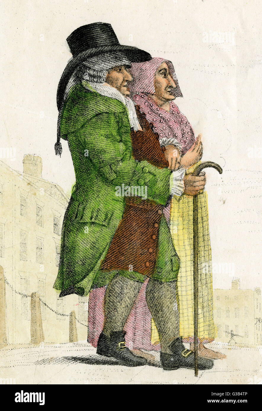 Thomas Cooke, the miser of  Islington, and his wife who he  married for her wealth :  together they lived a life - Stock Image