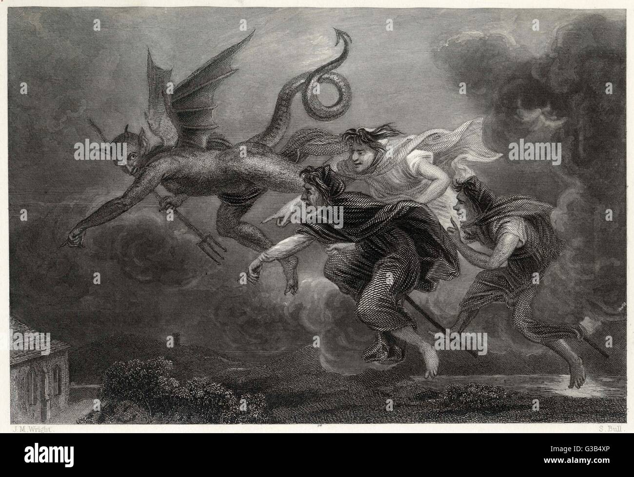 'Address to the Devil': Let Warlocks grim, an'  wither'd hags, Tell how wi'  you, on ragweed - Stock Image