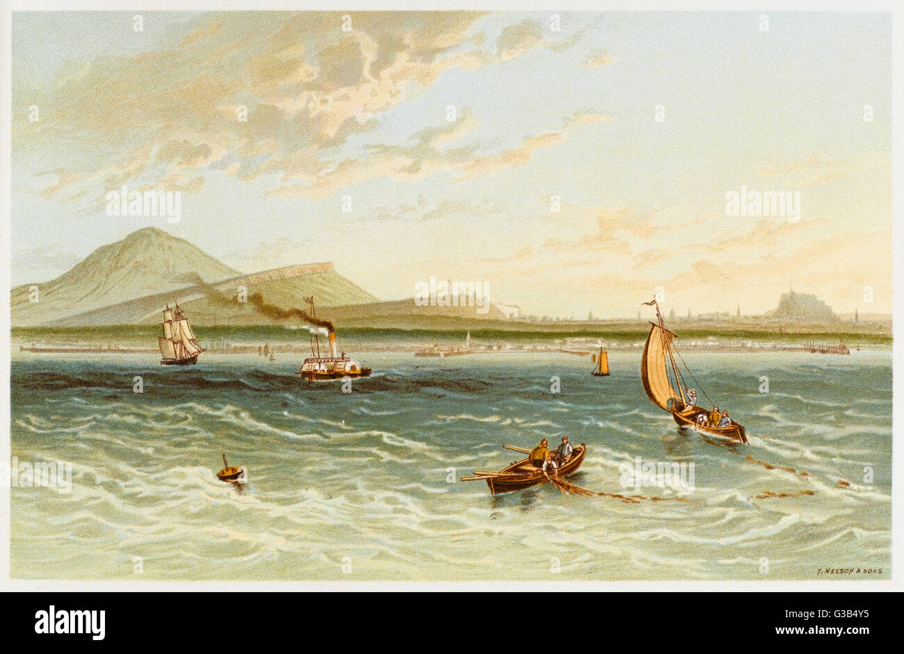 Edinburgh:  from the Firth of Forth        Date: 1880s - Stock Image