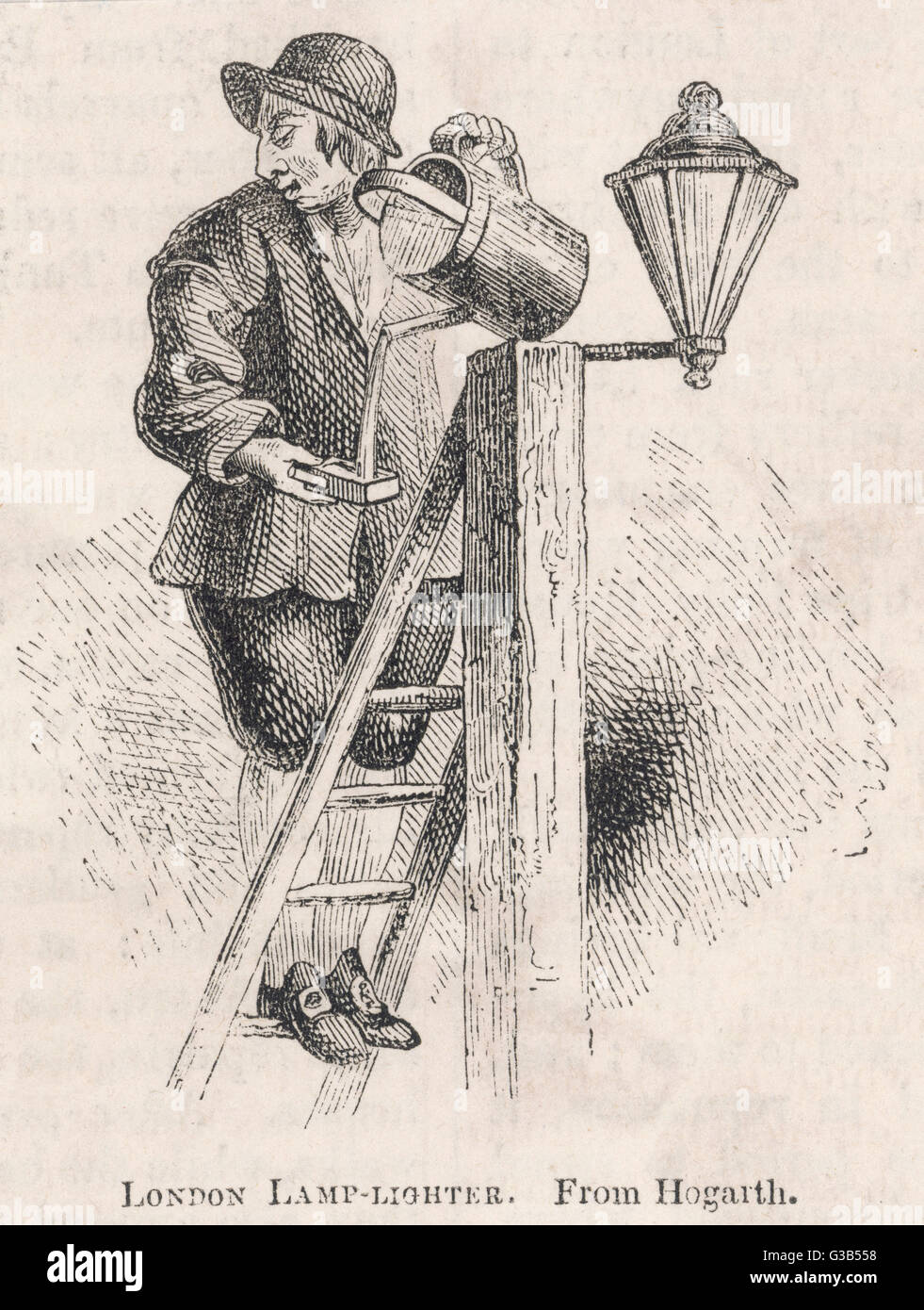 A London lamplighter climbs  his ladder to refill a lamp  with oil        Date: circa 1740 - Stock Image