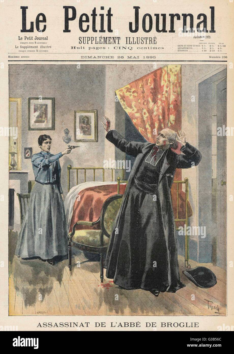 Mlle Amelot, maddened by  mysticism and angered by nuns  and priests, kills Abbe de  Broglie, by shooting him   - Stock Image