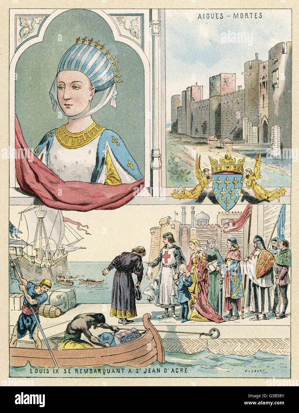MARGUERITE DE PROVENCE queen of Louis IX of France,  whom she accompanies to the  Holy Land when he goes  Crusading - Stock Image