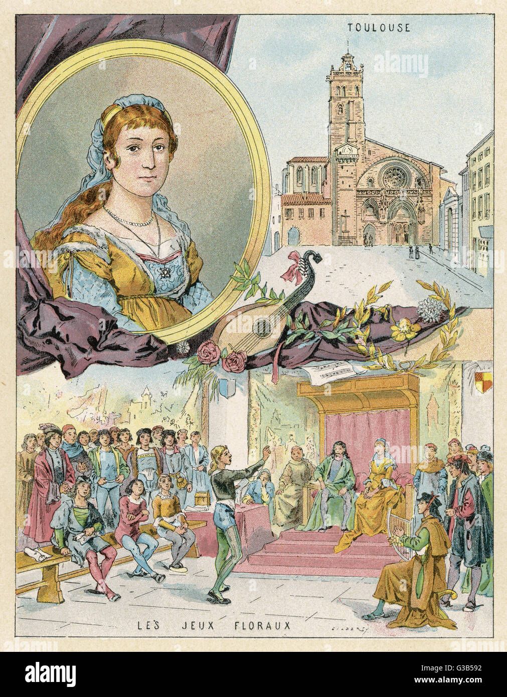 CLEMENCE ISAURE well-born lady of Toulouse who  encouraged poetry - le gai  savoir - and 'jeux floraux' - Stock Image